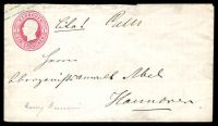 Lot 21581 [1 of 2]:1863 Stamp on TLC With Long Gum HG #B12 1g rose, local use in Hanover, flap faults.