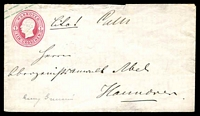 Lot 22481 [1 of 2]:1863 Stamp on TLC With Long Gum HG #B12 1g rose, local use in Hanover, flap faults.
