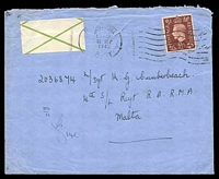 Lot 17684:1942 use of 1½d (underpaid by 1d but not taxed) with green cross label to Sgt in 4th S/L Regt Malta.