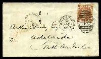 Lot 3577 [1 of 2]:1868 use of 10d red-brown 4 Large Corner Letters SG #112 (Cat £700) on cover, cancelled with 'AYLESBURY/E/JU18/68 - 38' (A1) duplex, backstamped with 'F.X/LONDON/JU19/68' (B1) in red, to Adelaide, SA, with 'ADELAIDE/AU?