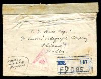 Lot 23603 [1 of 2]:1918(C.) use of Indian ½a IEF x4, cancelled with poor strikes of FPO 85 on registered cover to Sliema, Malta, magenta triangular 'PASSED BY CENSOR/NO 4175' (C1) on face, sealed at top with 'Opened under martial law' label.