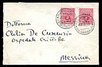 Lot 3734:1944 use of Allied Occupation of Sicily 2L x2, cancelled with 'MESSINA NO2/18.6.44/VIA GARIBALDI' (B1), on local cover.