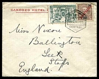 Lot 25327:1916 use of 50r brown 'REPUBLICA' opt & 1c green War Tax, cancelled with hexagonal 'CORREIOS ET TELEGRAPAS/LOURENCO MARQUES/15.7.16-15/CENTRAL', on Cardozo Hotel cover to Leek, Staffordshire, England, small closed tear at top, into war tax & some flap damage from opening.