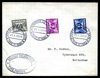 Lot 4195:1930 Conference of the Hague double-circle 'CONFERENCE DE LA HAYE/20.1.30.19/1929-1930', cancelling 4c blue, 1½c magenta & ½c brown, on cover to Rotterdam with triple oval 'BRITISH DELEGATION/THE HAGUE' (A1), boxed 'A
