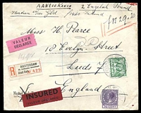 Lot 3929:1939 use of 2½c & 30c, cancelled with double-circle 'AMSTERDAM-ST ANTHONIES BREESTRAAT/18XII.11/1939' (B1) on registered insured cover to England, part of back missing.