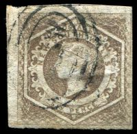 Lot 885:1854-59 Imperf Large Diadems Wmk Double-Lined Numeral SG #96 6d greyish brown, 4-margins, Cat £35, minor faults.