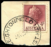 Lot 1302:Leightonfield North: - 'LEIGHTONFIELD NTH/24AU57/[N.S.W-A]UST' on 4d QEII.  PO 1/9/1953; closed 14/7/1989.