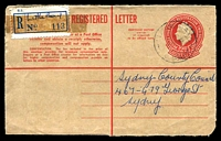 Lot 1395:Little Bay (2): - light 'LITTLE BAY/?63/[NS]W-AUST' on 2/5d Registration Envelope front with blue provisional registration label.  PO 1/7/1963.
