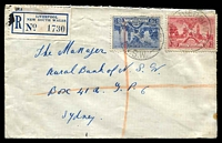 Lot 6105 [1 of 2]:Liverpool: - light 'LIVERPOOL/17OC36/N.S.W.' (A1 backstamp) on 2d & 3d SA Centenary on cover with blue registration label.  PO 1/3/1828; replaced by Liverpool Westfield PO 1/6/1992.