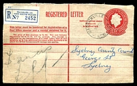 Lot 1388 [1 of 2]:Marrickville: - 'MARRICKVILLE/26JY57/N.S.W-AUST' on 1/7d QEII Registration Envelope with blue registration label.  PO 1/1/1865.