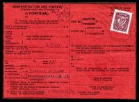 Lot 27031:1944 use of 2$ Caravelle on Avis de Rèception card to Warsaw for a food parcel from the Portuguese Red Cross.