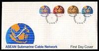 Lot 28053:1978 ASEAN Cable SG #331-4 set of 4 circular stamps, on official long un-addressed cover.