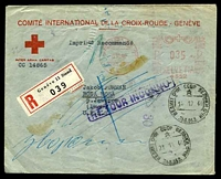 Lot 4420 [1 of 2]:1940 use of 'GENEVE 11/6XI40/4592/***' 35c meter on 'COMITÉ INTERNATIONAL DE LA CROIX-ROUGE - GENÈVE' registered cover to the USSR, with boxed 'RETOUR INCONNU' (B1) in purple, straight-line '30' in purple, triangular '35' & cyrillic date stamps for 28.11.40 & 14.12.40 (both A1) & backstamped with Moscow cyrillic of 18.11.40 (A1-) & 'GENEVE 1/*6.1.41·16*/1/DISTR. LETTRES' (A1-), some creasing to top edge & small torn strip still attached at upper centre.