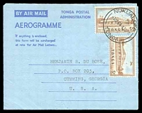 Lot 28911:1964 use of 5d x2 on Tongan formular aerogramme, to USA.