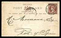 Lot 28985:Dabadie: 'DABADIE/A/NO12/98/TRINIDAD', Proud #D2, cancelling faulty ½d brown Postal Card. [Rated 500 by Proud]
