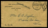 Lot 28411:1938 use of stampless COD envelope, cancelled with 'SOUTH DELOIT/OCT3/4PM/1938/1LL. - 1' duplex.