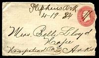 "Lot 29373:Stephens, Arkansas: mss ""Stephens Ark/4-19-84"" on 1883 2c pink on buff Envelope, backstamped with 'HOPE/APR/26/1884/ARK.' duplex, envelope roughly opened at right."