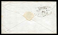 "Lot 11685 [2 of 2]:1851 use of stampless cover to Sydney rated ""2"" in red, light boxed 'PAID AT/MELBOURNE' (B2-) on face, endorsed ""p OMail/15august"", oval '[MELB]OURNE/[crown]/AU*15/1851/[PO]"