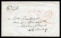 "Lot 11685 [1 of 2]:1851 use of stampless cover to Sydney rated ""2"" in red, light boxed 'PAID AT/MELBOURNE' (B2-) on face, endorsed ""p OMail/15august"", oval '[MELB]OURNE/[crown]/AU*15/1851/[PO]"