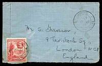 Lot 16584:1932 (Nov 17) use of 1d Tercentenary (small fault) on lettercard to England, posted by passenger on cruise ship.