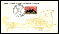 "Lot 577 [1 of 2]:1969 England Australia Flight Anniversary '50TH ANNIVERSARY FIRST FLIGHT ENGLAND TO AUSTRALIA/DARWIN/N.T 5790/12TH DEC.1969' on 5c on attractive illustrated cover (unidentified English maker), endorsed ""Flight Committee/Melb""."