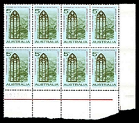 Lot 3419:1968 Christmas BW #494za Upper pane sheet number block of 8 with number under 5/7.