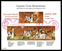 Lot 577:1970 Cook Bicentenary BW #528d 55c minisheet, with Double spear on 30c stamp, with 'ANPEX 1970' opt, cancelled with ANPEX Pictorial of 27APR1970.