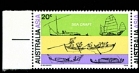 Lot 410 [2 of 2]:1971 Australia - Asia BW #554g 20c Sea Craft pair, left unit showing Retouch in green under 'S' of 'SEA CRAFT' [LP 1/1], Cat $15+.