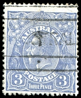 Lot 363:3d Blue Die Ia - [3,4R30] Several broken shading lines adjoining emu's legs, etc