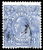 Lot 796:3d Blue Die Ia - [3,4R45] Small flaw on top of left arm of T of AUSTRALIA