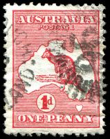 Lot 594:1d Red Die I BW #2(B)k Right frame dented opposite Brisbane, Cat $20, pmk straddles flaw and crease at base.