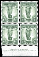 Lot 566:1937-59 1/- Lyrebird Perf 14¾x14 BW #209ze Authority imprint left corner block of 4, with unusual Pale vertical band through centre of top right unit and into top of bottom right unit, light bend through left units.
