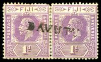 Lot 21293:Davutu: straight-line 'DAVUTU', on 1d violet KGV pair, hinge reinforced join. [Rated 60 by Proud]  PO 1/3/1915; closed 20/10/1938.