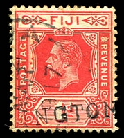 Lot 21296:Ellington (1): straight-line '[ELL]INGTON', on 1d red KGV, overstruck with poor 1917 Suva. [Rated 100 by Proud]  PO 16/3/1916; closed 4/11/1936.