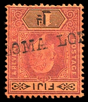 Lot 3941:Loma Loma (1): straight-line 'LOMA LO[MA]' on 1d dull purple & black on red KEVII.  PO c.1872; closed c.1908.