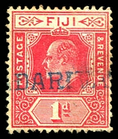Lot 4042:Nadarivatu: straight-line '[NA]DARIVA[TU]' in blue, on 1d red KEVII. [Rated 150 by Proud]  PO c.-/7/1905.