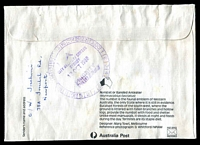 Lot 6837 [2 of 2]:Newport Beach: - 12-hr 'NEWPORT BEACH/2106/12OCT1988/PRIORITY/PAID/OFFICE' in black on face of cover from Newport to Sydney, minor faults.  PO 12/11/1928.