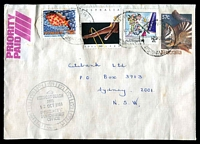Lot 6837 [1 of 2]:Newport Beach: - 12-hr 'NEWPORT BEACH/2106/12OCT1988/PRIORITY/PAID/OFFICE' in black on face of cover from Newport to Sydney, minor faults.  PO 12/11/1928.