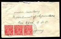 "Lot 1414 [1 of 2]:Niagara Park (1): - mss ""No 2314/Niagara Park"" in lieu of registration label on cover to Sydney, 1½d red KGV x3 cancelled with 'GOSFORD/11AU26/N.S.W.'. [No datestamps recorded during this first opening.]  RO 15/11/1909; PO 1/7/1927; closed 13/6/1931."