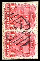 Lot 5405:717: BN on 1d Arms pair.  Allocated to Millie-PO 1/1/1874; closed 31/10/1936.