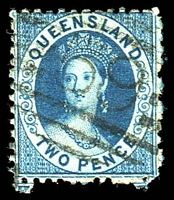 Lot 1054:59: '59' BN (2a) on 1876 2d blue. [Rated R]  Allocated to Townsville-PO 1/1/1866.