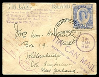 Lot 4214 [1 of 2]:1935 Tin Can Mail small cover to New Zealand with 2½d adhesive tied by NIUAFOOU cds 7AU35 with a plethora of cachets on front and back, minor stains.