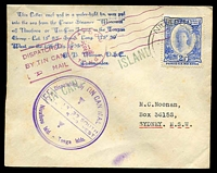 Lot 4443 [1 of 2]:1936 Tin Can Mail cover to Australia with 2½d adhesive tied by poor NIUAFOOU cds 2?JL36 with a plethora of cachets on front and back, minor stains.