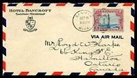 Lot 4268:1929 (Sep 6) use of 5c air on airmal cover from Saginaw, Michigan to Hamilton, Ontario.