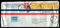 Lot 4765:1938 (Apr 19) use of 10c Monroe x5 & 2c on air cover to New Zealand, neat little 'By Air Mail' label on face.
