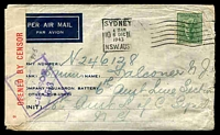 Lot 4873 [1 of 2]:1943 use of 4d koala on blue military air mail envelope, Sydney to New Guinea, censor tape tied by violet diamond '2/PASSED/BY