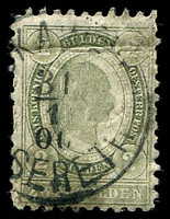 Lot 3665:1896 New Colours SG #106 2g green P10½, Cat £65, faults.