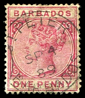 Lot 16809:St Peter: 'ST·PETER/SP4/89/BARBADOS' on 1d rose.