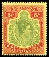 Lot 3542:1938-52 Key Types SG #118 5/- green & red/yellow P14, Cat £140.