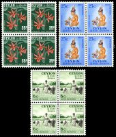 Lot 3332:1951-54 Pictorials SG #421,423,424a 6c, 25c & 35c Type II, all in blocks of 4, Cat £25.